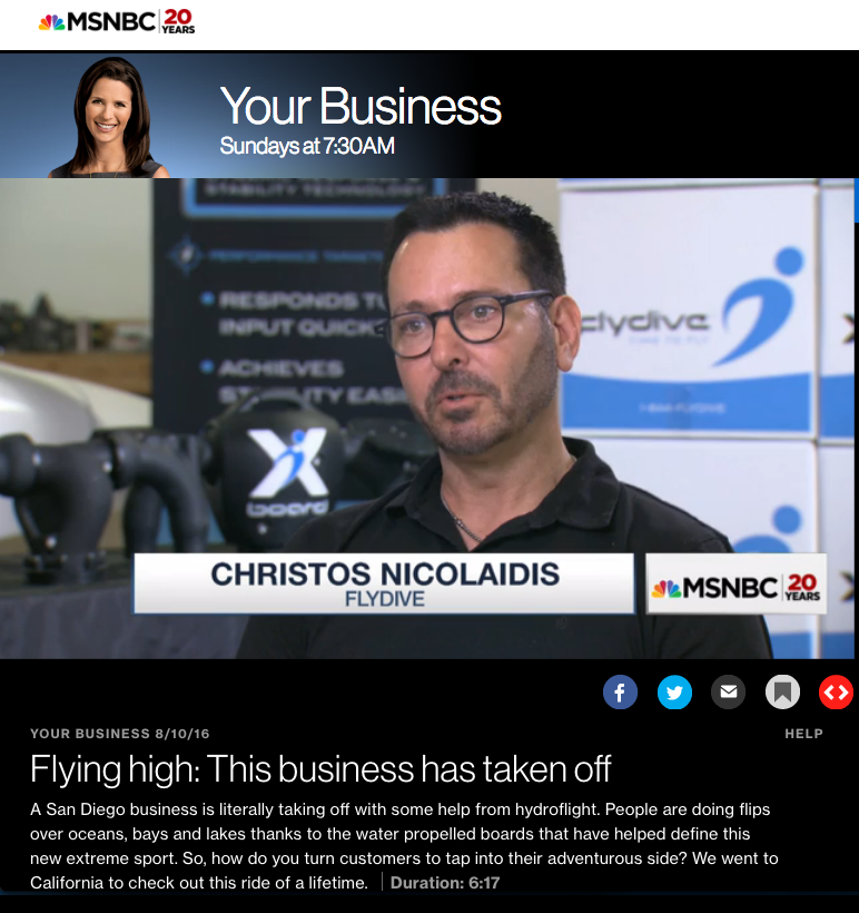 FlyDive on MSNBC TV show